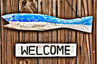 Rustic fish welcome sign hanging on fence